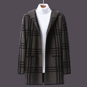 Men's Fleece Hooded Long Wind Coat