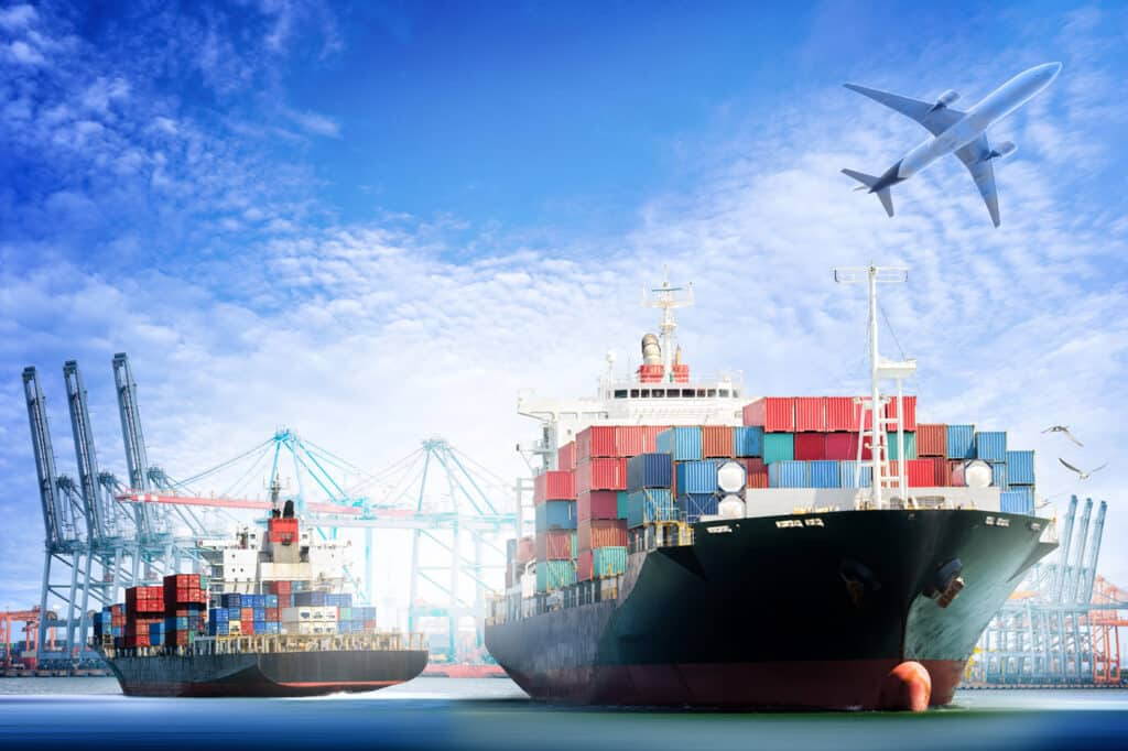 Container Cargo Ship And Cargo Plane With Working Crane